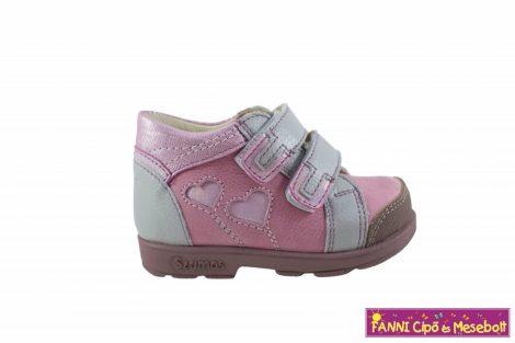 Szamos lány szupinált gyerekcipő 18-24 pink-szürke szivecskés