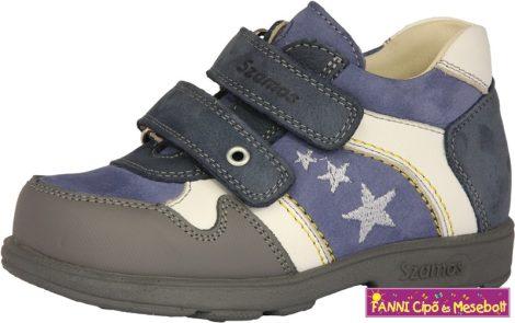Szamos fiú szupinált gyerekcipő 31-35 kék-fehér csillagos