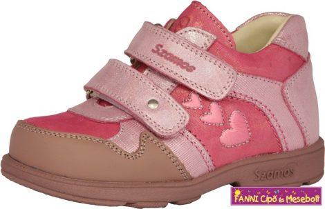 Szamos lány szupinált gyerekcipő 25-30 pink szivecskés