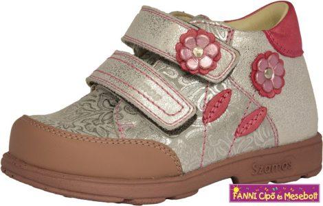 Szamos lány szupinált gyerekcipő 25-30 ezüst-pink virágos
