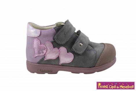Szamos lány szupinált gyerekcipő 31-35 szürke-v.lila-pink szivecskés
