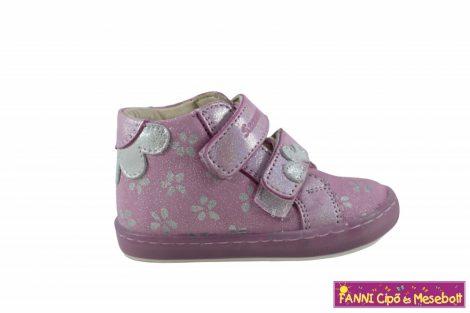 Szamos lány első lépés gyerekcipő 18-24 pink-ezüst virágos