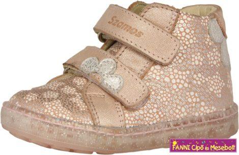 Szamos lány első lépés gyerekcipő 19-24 rózsaszín-ezüst virágos