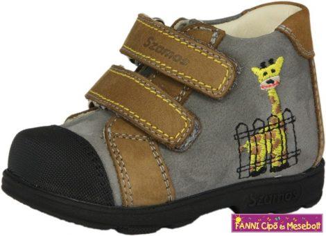 Szamos fiú szupinálz gyerekcipő 19-24 antracit-szürke-barna zsiráfos