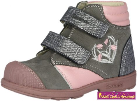 Szamos lány szupinált gyerekcipő 25-30 szürke-pink virágos