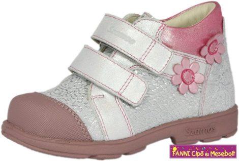 Szamos lány szupinált gyerekcipő 31-35 ezüst-pink virágos