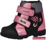 Szamos lány szupinált SzamTex/vízálló téli bélelt gyerekcipő 25-30 fekete-pink-ezüst virágos