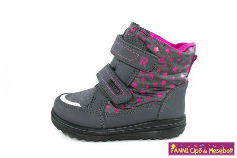 Richter lány téli bélelt SympaTex/vízálló gyerekcsizma 21-27 szürke-pink csillagos