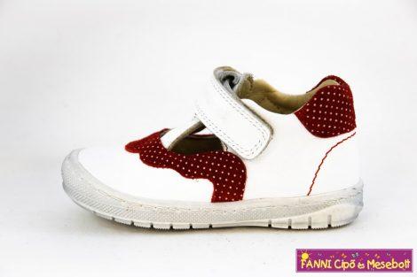 Szamos lány felvezetőpántos szandálcipő/balerinacipő 20-24 fehér-piros pöttyös
