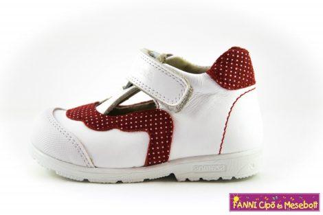 Szamos lány szupinált felvezetőpántos szandálcipő/balerinacipő 20-24 fehér-piros pöttyös