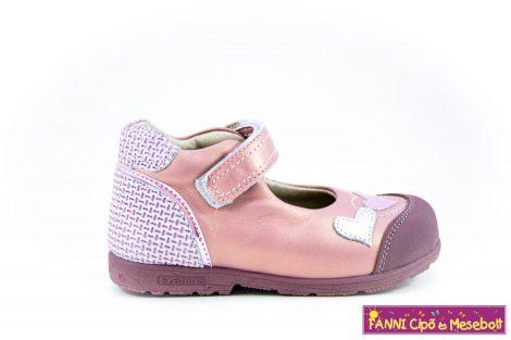 Szamos lány szupinált szandálcipő/balerinacipő 25-30 mályva-ezüst-szivecskés