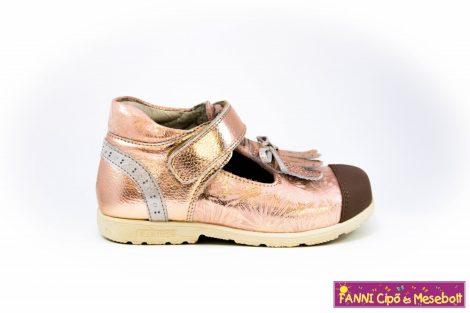 Szamos lány szupinált szandálcipő/balerinacipő 31-35 arany-virágos.