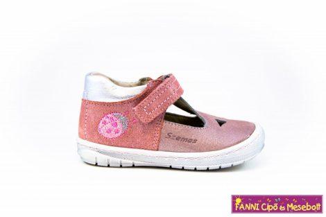 Szamos lány szandálcipő/balerinacipő 19-24 rózsaszín-ezüst-katicás.