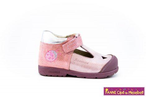 Szamos lány szupinált szandálcipő/balerinacipő 19-24 rózsaszín-ezüst-katicás