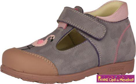 Szamos lány szupinált szandálcipő/balerinacipő  25-30 lila-pink flamingós