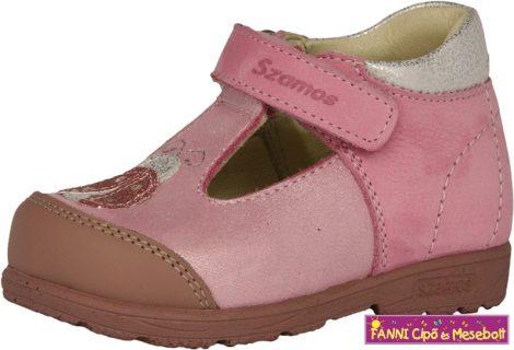 Szamos lány szupinált szandálcipő/balerinacipő 19-24 pink-ezüst katicás