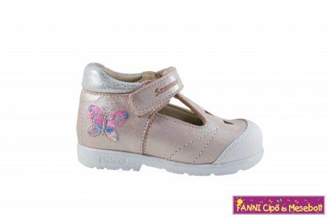 Szamos lány szupinált szandálcipő/balerinacipő 19-24 rózsaszín-ezüst pillangós