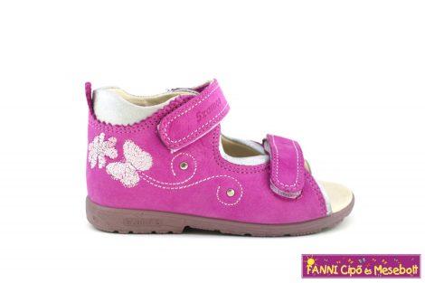 Szamos lány szupinált szandál 19-24 pink-ezüst-pillangós