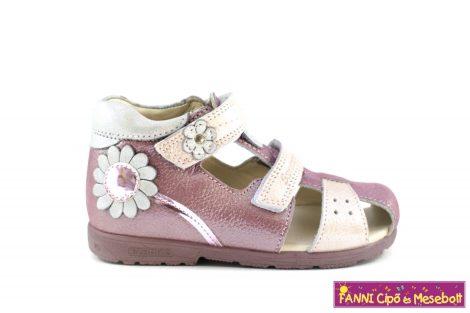 Szamos lány szupinált zárt orrú szandál 25-30 mályva-rózsaszín virágos