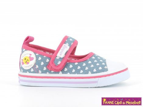 Primigi lány vászoncipő/balerinacipő 22-27 kék-fehér-pink szívecskés