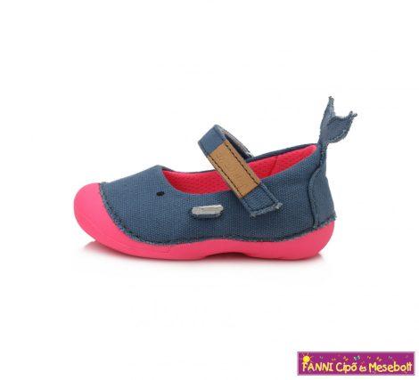 D.D.step lány nyitott vászoncipő 19-24 kék-pink bálnás