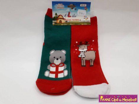 Ollike téli mintás termo zokni-2 pár