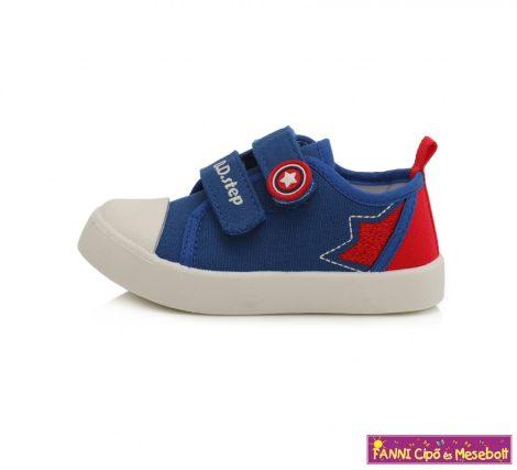 D.D. step fiú vászoncipő 20-25 kék-piros csillagos