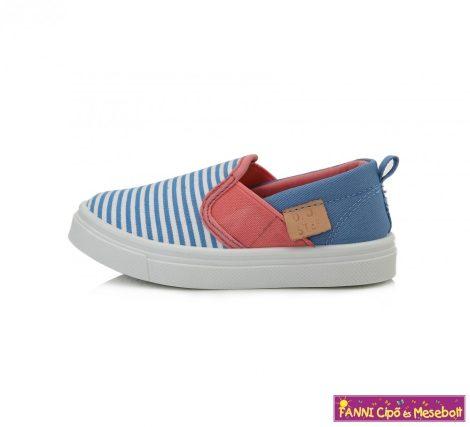 D.D. step lány vászoncipő 26-31 kék-fehér-csíkos