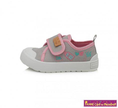 D.D. step lány vászoncipő 20-25 szürke-rózsaszín