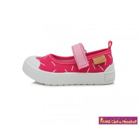 D.D.step lány nyitott vászoncipő 20-25 sötét rózsaszín mintás