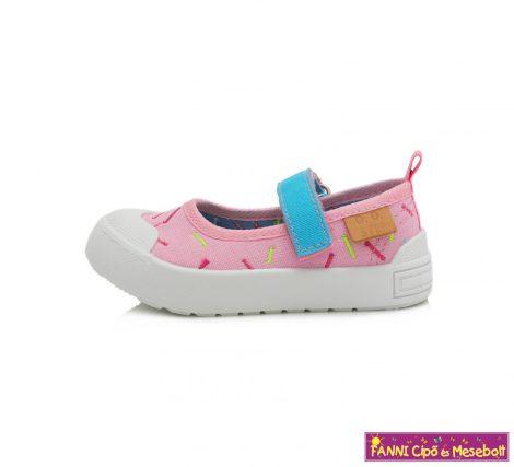 D.D.step lány nyitott vászoncipő 20-25 világos rózsaszín mintás
