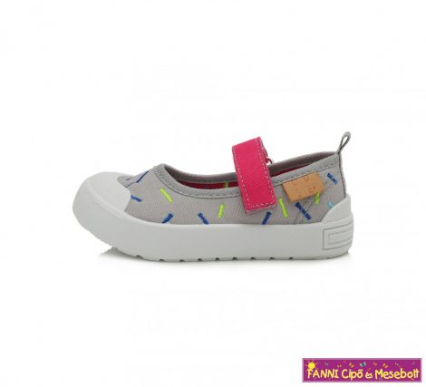 D.D. step lány nyitott vászoncipő 26-31 szürke-mintás