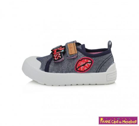 D.D.step lány vászoncipő 20-25 kék mintás