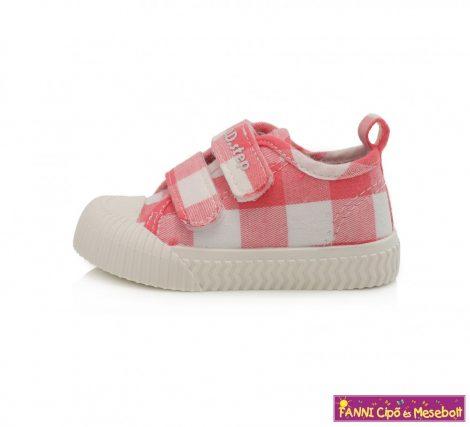 D.D. step lány vászoncipő 20-25 rózsaszín-fehér kockás