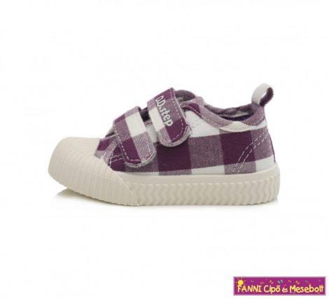 D.D. step lány vászoncipő 20-25 lila-fehér kockás