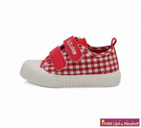 D.D. step lány vászoncipő 20-25 piros-fehér kockás