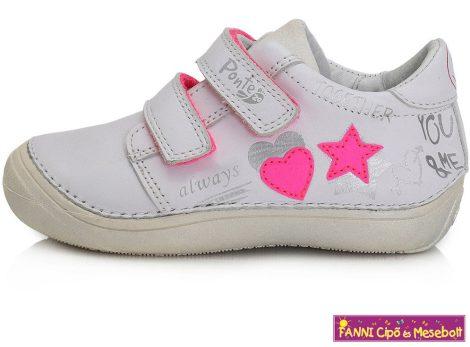 Ponte20 lány szupinált gyerekcipő 24-29 fehér szivecskés-csillagos