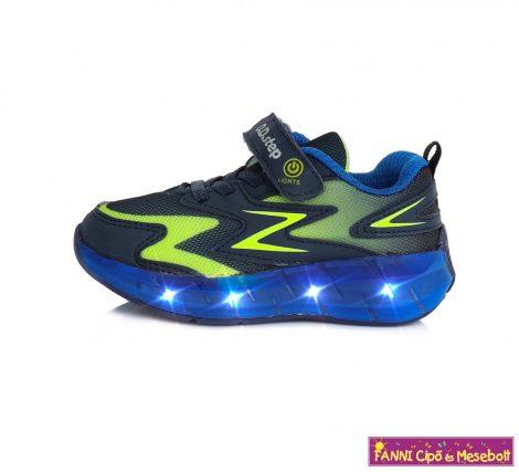 D.D. step fiú LED-villogós sportcipő 30-35 kék-neonzöld