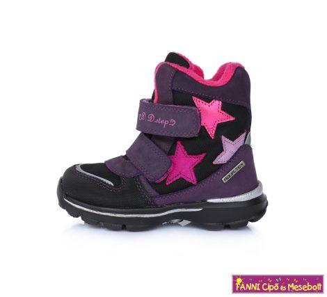 D.D.step lány AQUATEX/ vízálló téli bélelt gyerekcipő 24-29 lila csillagos