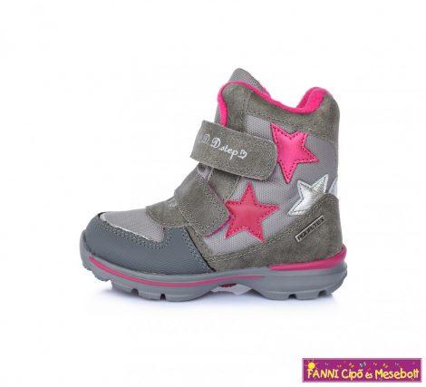 D.D.step lány AQUATEX/vízálló téli bélelt gyerekcipő 24-29 szürke csillagos
